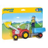 Playmobil 6964 Boer met Tractor en Aanhangwagen_