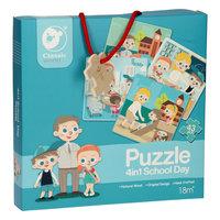 Classic World Houten Puzzel Op School, 4in1