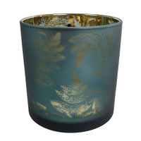 Waxinelichthouder Evita Bladpatroon Petrol/Zilver, 12,5cm