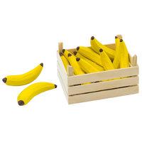 Houten Bananen in Kist, 10dlg.