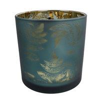 Waxinelichthouder Evita Bladpatroon Petrol/Zilver, 15cm