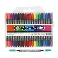 Dubbelzijdige Stiften - Basiskleuren, 20st.