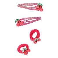 Haarknipjes en Minibandjes met Kers Glitter, 2st.