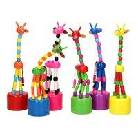 Houten Drukpop Giraffe Gekleurd
