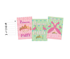 Uitnodigingen Princess Party, 6st.