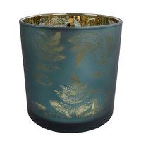 Waxinelichthouder Evita Bladpatroon Petrol/Zilver, 8cm