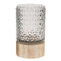 Waxinelichthouder Aran op Houten Voet Lichtgrijs, 15,5cm