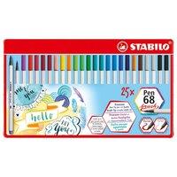 STABILO Pen 68 Brush Metalen Etui, 25st.