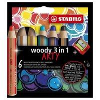 STABILO Woody ARTY Etui - 6 Kleuren + Puntenslijper