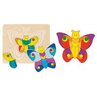 Houten 3-lagen Puzzel Vlinder