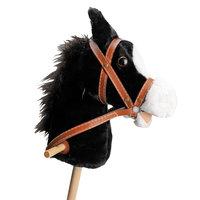 Houten Stokpaard met Geluid - Zwart