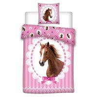 Dekbedovertrek Paard Roze, 140x200cm
