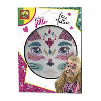 SES Fashion Glitter Gezicht Tattoos - Kat