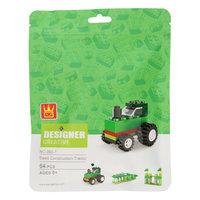 Bouwblokjes 3in1 Groen - Tractor, Krokodil, Kassteel, 64dlg.
