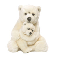 WNF Pluche - IJsbeer met Baby, 28cm