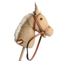 Houten Stokpaard met Geluid - Wit