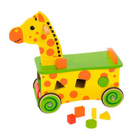 Houten Loop- en Sorteerwagen Giraffe