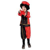 Pieten Kostuum 7-9 Jr Zwart/rood