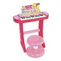 Bontempi Keyboard Staand met Microfoon en Krukje Roze