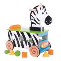 Houten Loop- en Sorteerwagen Zebra
