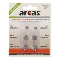 ARCAS Alkaline Knoopcelbatterijen, 6st.