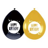 Ballonnen Happy Birthday Goud/Zwart, 6st.