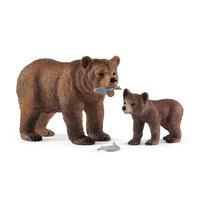 Schleich Vrouwelijke Grizzlybeer met Grizzlybeertje