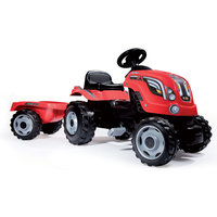 Smoby Tractor met Trailer - Rood