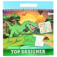 Schetsboek Dino met Stickers en Sjablonen