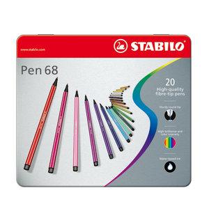STABILO Pen 68 in Metalen Doos, 20kl.