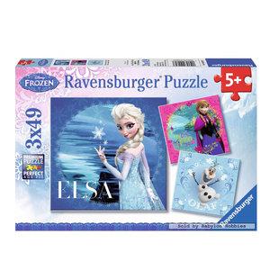 Disney Frozen Puzzel: Elsa, Anna & Olaf, 3x49st.